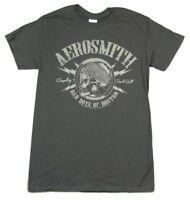 Aerosmith Bad Boys Of Boston Skull Grey T Shirt New Official Band Merch