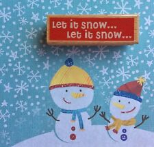 Let It Snow Christmas Holiday Phrase Wood Rubber Stamp Winter Wonderland Scene