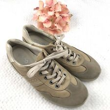 Ecco Women's Size 39 8 8.5 US Tan Tennis Shoes Leather Lace Up Casual Sneakers