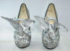 "Gothic Silver Dragon Spiked 6"" High Heels (Sz 8-8.5) Handmade Original Altered"