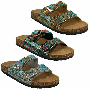 F0R0251 LADIES DOWN TO EARTH BEADED FLAT OPEN TOE SUMMER MULES SLIP ON SANDALS