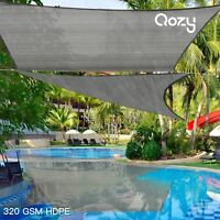 Qozy SUPER Extra Heavy Duty Sun Shade Sail 320gsm Square Rectangle Triangle Grey