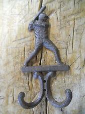 3 Cast Iron Antique Style BASEBALL PLAYER Coat Hooks Hat Hook Rack Towel  BAT