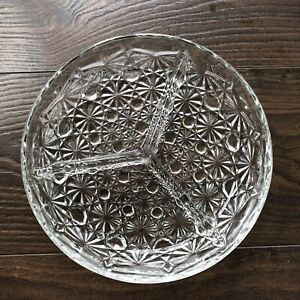 Glass Devided Plate For Olives And Nuts Or Snacks