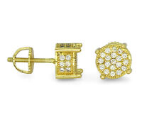 Mens 14k Gold Plated Cz Stud Round Screw Back Earrings Hip Hop