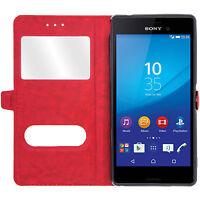 Etui Housse Coque Pochette View Case Rouge pour Sony Xperia Z5