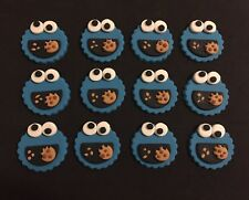 Sesame Street Cookie Monster Edible fondant Cupcake toppers x 12 Set
