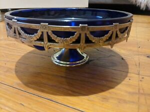 Vintage Footed Silver tone Ribbon Style Basket/Bowl W Thick Cobalt Blue Liner