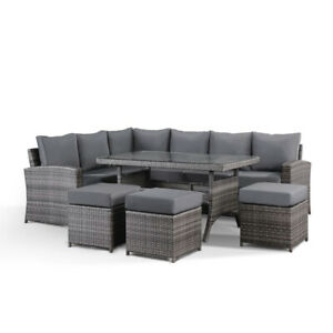 Jasmina Grey Garden Outdoor Furniture Corner Sofa with Dining Table and 3 Stools