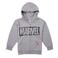 Official Marvel Comics Logo Boys Zipped Hoodie - Kids Superhero Hood - Grey