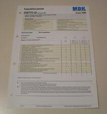 Inspektionsblatt MBK Motorroller OVETTO 50 - Typ 5AD - ab 1998!