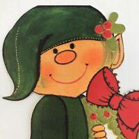 Vintage Mid Century Christmas Greeting Card Cute Green Elf Holding Wreath