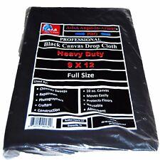 Black Canvas Drop Cloth / Chimney Sweep / 9 X 12 / 10 oz. Photography Background