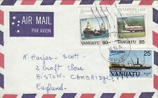 Vanuatu 1984 cover from Port Vila to the UK with roller datestamp