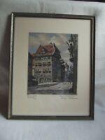 Farbradierung von Nürnberg - Dürerhaus - signiert Hans Böhme ( 1905 - 1982 )