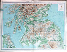 """ SCOTLAND - Southern Section "" MAP (1922) - Times Atlas of the World Pl.21"
