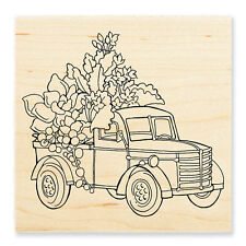 TRUCK With Succulents Plants Wood Mounted Rubber Stamp Stampendous W185 NEW