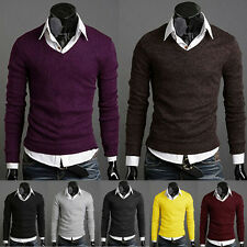 Men's Knit Wear Jumpers Sweaters Slim Basis Tops Pullover V Neck Solid Color New