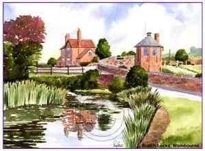 """THE BRATCH CANAL WOMBOURNE STAFFS WATERCOLOUR ARTISTS PRINT ART CARD 8""""x 6"""""""