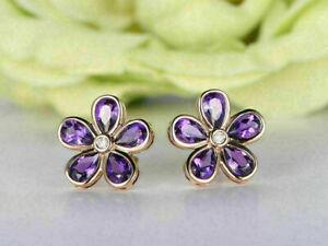 14K Rose Gold Over 2 Ct Pear Cut Amethyst Diamond Flower Shape Stud Earrings