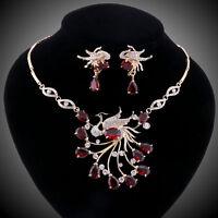 Gorgeous Phoenix Crystal Zircon Statement Necklace Earring Wedding Jewelry Sets