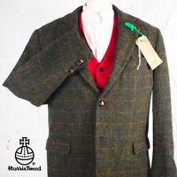 44R HARRIS TWEED Suit Blazer Jacket Blue Green Tartan Wedding Hunting #560