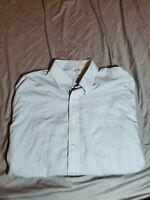 BROOKS BROTHERS Regent Non-Iron Supima Cotton Dress Shirt 17.5 - 34 blue white