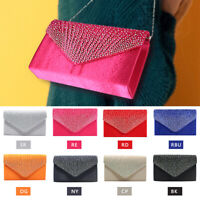 Women Luxury Rhinestone Frosted Bag Pleated Envelope Clutch Shoulder Handbag US