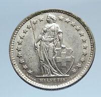 1960 SWITZERLAND SILVER 1/2 Francs Coin HELVETIA Symbolizes SWISS Nation i74279