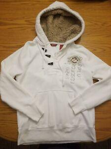 Arizona Jean Co Long Unisex Hoodie S White 100% cotton faux fur lining hood