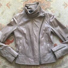 Ted Baker High End Zip Collar Biker Leather Jacket, Grey, Size 2