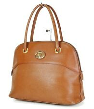 Authentic Burberrys Brown Leather Tote Hand Bag Purse #34809B