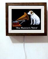 RCA Victor Victrola Retro Vintage Nipper Dog Master's Voice Light Lighted Sign