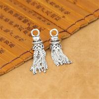 925 Sterling Silver Box Chain Tassel Charms Pendant for Tassel Necklace Bracelet