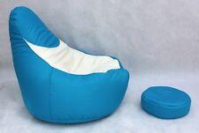 Pouffe bleu salon mobilier confortable pouf géant