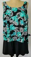 Azul Maxine of Hollywood Black Turquoise Floral Paisley Swim Suit Dress Size 24W
