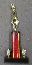 baseball riser ball trophy tall red column wide base mitt trims