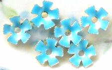 #611B Vintage Enamel Flower Beads Cabochons Blue Spacer Metal Gold Plated