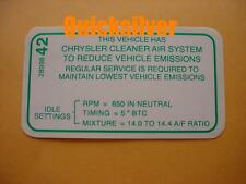 1968 Dodge Chrysler Plymouth 383 4bbl Automatic Trans Emissions Decal NEW MoPar