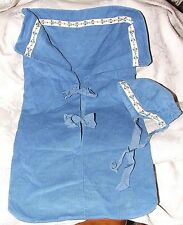 Vintage 1940s-50s Hand Made Blue Corduroy Baby Bunting with Cap Ribbon Trim