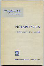 Metaphysics - Critical Survey of its Meaning, by; Takatura Ando - Book - 1963