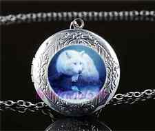 White Wolf Photo Cabochon Glass Tibet Silver Locket Pendant Necklace
