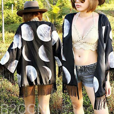 Women Lunar Eclipse Printed Shawl Kimono Cardigan Tops Cover up Chiffon Blouse