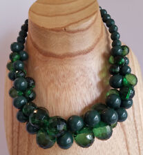 Dark Emerald Green Chunky Statement Necklace Bevel Cut Plastic Bead Ball