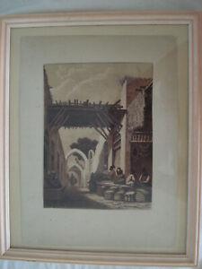 Belle gravure ancienne orientaliste XIXe Marché oriental souk à Fès ? Alger?
