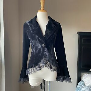Vintage Gothic Velvet Steampunk Velvet Lace Trim Ribbon Corset Jacket Blazer S M
