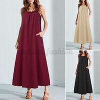 Mode Femme Robe Casual en vrac Sans Manche Coton Poche Ample Dresse Oversize