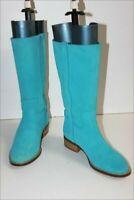 ELIZABETH STUART MI Bottes Cavalières Cuir Bleu Turquoise T 38 TTBE