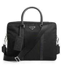 PRADA Saffiano Leather Briefcase w/ Detachable Shoulder Strap labtop Nylon new