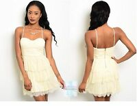 Women  Vanilla Lace Tiered Mini Dress Fitted Spaghetti Strap Dressy Empire Waist
